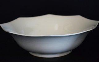 河合正光/白磁 八角鉢(大)