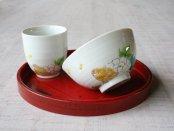 イノシシと牡丹 ご飯茶碗 お湯呑セット