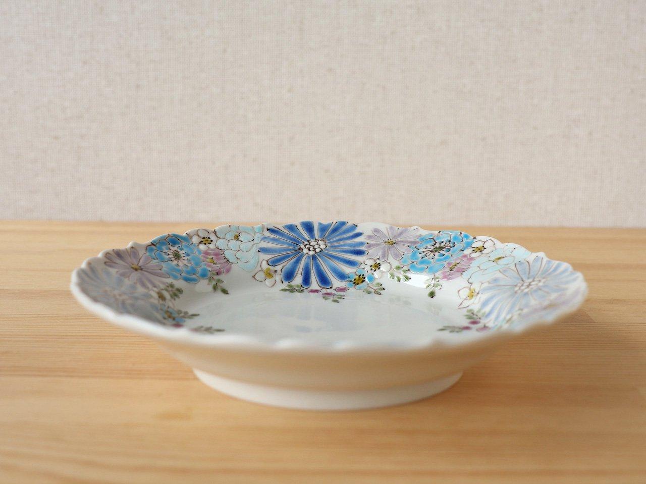 花憐 ブルー 輪花皿