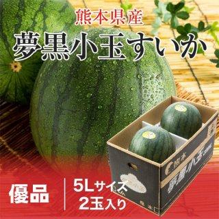 夢黒小玉すいか 熊本県産 JA鹿本 優品 5Lサイズ 2玉 約7.0kg 送料無料 お中元 スイカ 西瓜