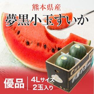 夢黒小玉すいか 熊本県産 JA鹿本 優品 4Lサイズ 2玉 約6.0kg 送料無料 お中元 スイカ 西瓜
