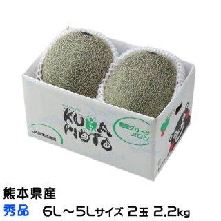 肥後グリーン メロン 熊本県(八代産) 秀品 5L〜6Lサイズ 2玉 2.2kg以上