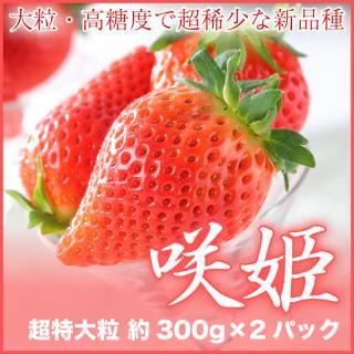 佐賀県産 『咲姫』 超特大の大粒いちご 高糖度の超希少な新品種 限定生産 7〜10粒 300gパック 2パック