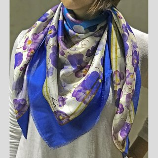 Hanagraphic scarf Pansy(Blue)