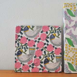 Woodblock Print handkerchief | 木版ハンカチ 青い鳥---鹿児島 睦