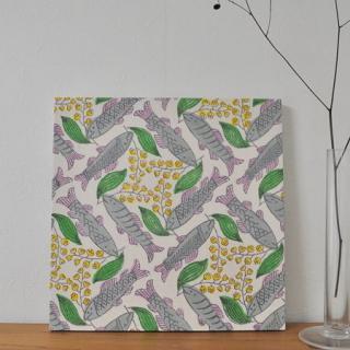 Woodblock Print handkerchief | 木版ハンカチ スズキとすずらん---鹿児島 睦