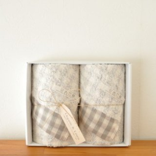 gift set Gauze Check | ガーゼチェック フェイスタオルセット---kontex