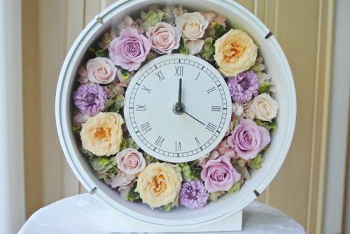 花時計オレンジ×ライラック【母の日、結婚祝い!両親贈呈に!プリザーブドフラワーの優しい時計】