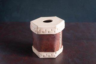 Eatable of Many Orders  エタブル  Toilet Roll Split Leather Box  color:NATURAL×KAKISHIBU  穴あり