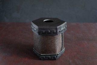 Eatable of Many Orders  エタブル  Toilet Roll Split Leather Box  color:BLACK×KAKISHIBU  穴あり