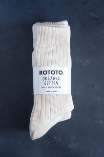 RoToTo ロトト ORGANIC DAILY 3 PACK CREW SOCKS (ECRU)  メンズ
