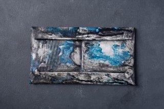 [1点モノ] kagari yusuke   カガリユウスケ 封筒型長財布 都市型迷彩 [青]