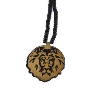 木製 ライオン ネックレス(黒)