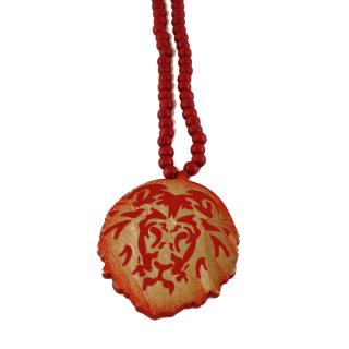 木製 ライオン ネックレス(赤)