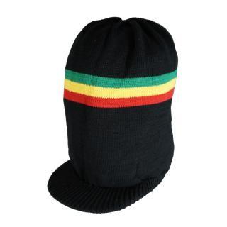 ラスタカラー ニット タム ツバ付(黒) ドレッドヘアー 帽子