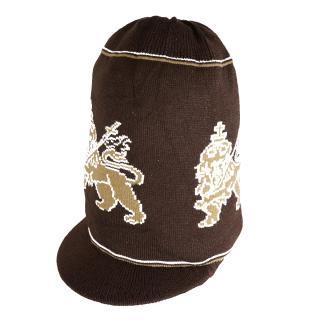 ラスタ ライオン ニット タム ツバ付(茶) ドレッドヘアー 帽子
