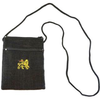 ヘンプ ラスタ ライオン パスポートバッグ(黒)