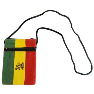 ヘンプ ラスタカラー ライオン パスポートバッグ