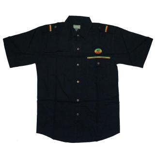 ラスタ ライオン ボタンシャツ(ブラック)