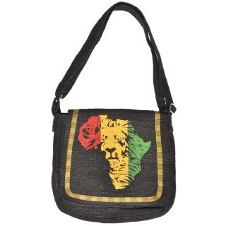 ジャーライオン アフリカンラブ ヘンプ メッセンジャーバッグ (ブラック)
