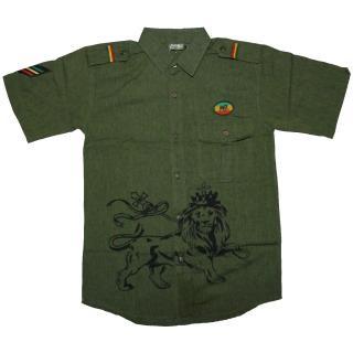 ラスタ ライオン プリントボタンシャツ