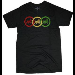 TRI-COLOR リングライオン VネックTシャツ(黒)