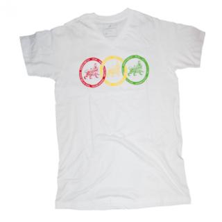 TRI-COLOR リングライオン VネックTシャツ(白)