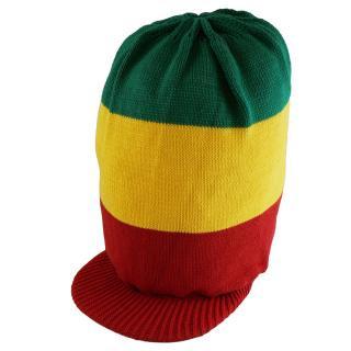 ラスタカラー ニット タム ツバ付 ドレッドヘアー 帽子