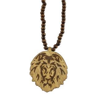 木製 ライオン ネックレス(濃茶)