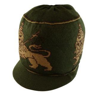 ラスタ ライオン ニット タム ツバ付(カーキ)  ドレッドヘアー 帽子