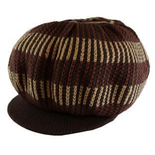 ニット タム ツバ付(茶) ドレッドヘアー 帽子