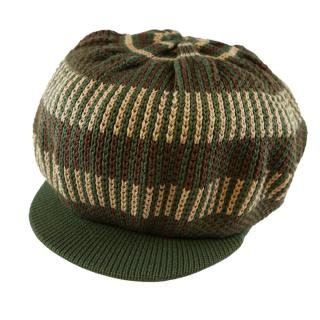 ニット タム ツバ付(カーキ) ドレッドヘアー 帽子