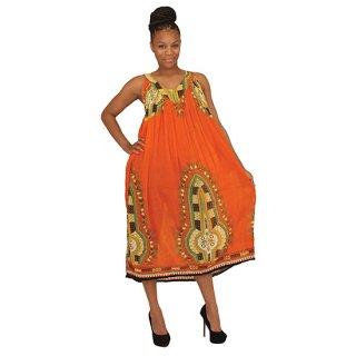 アフリカントラディショナル ワンピース (オレンジ)