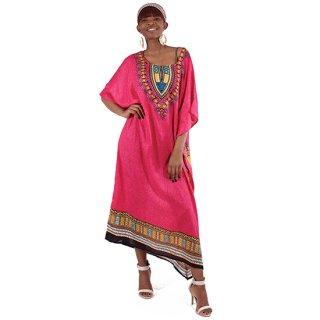 アフリカントラディショナル カフタン (赤紫)