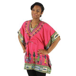 アフリカの村人柄 トラディショナル ポンチョ ダシキ(赤紫)