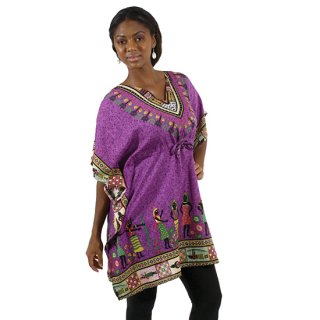アフリカの村人柄 トラディショナル ポンチョ ダシキ(紫)