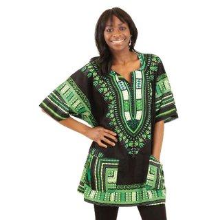 アフリカントラディショナル ダシキ (黒・緑) 男女兼用