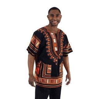 アフリカントラディショナル ダシキ (黒・オレンジ) 男女兼用