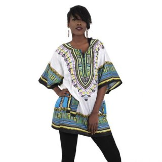アフリカントラディショナル ダシキ (白) 男女兼用