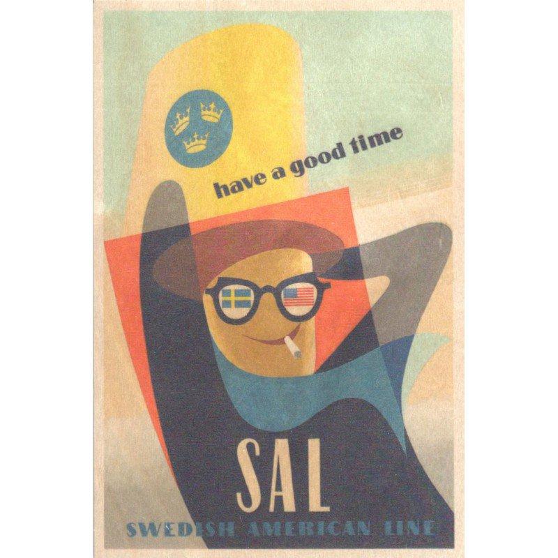 【木のはがき】SAL ハヴアグッドタイム / COME TO SWEDEN(カムトゥスウェーデン)木製ポストカード【クリックポスト配送…