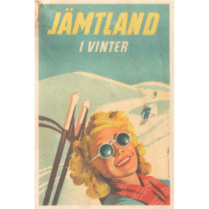 【木のはがき】スキーガール / COME TO SWEDEN(カムトゥスウェーデン)木製ポストカード【クリックポスト配送…