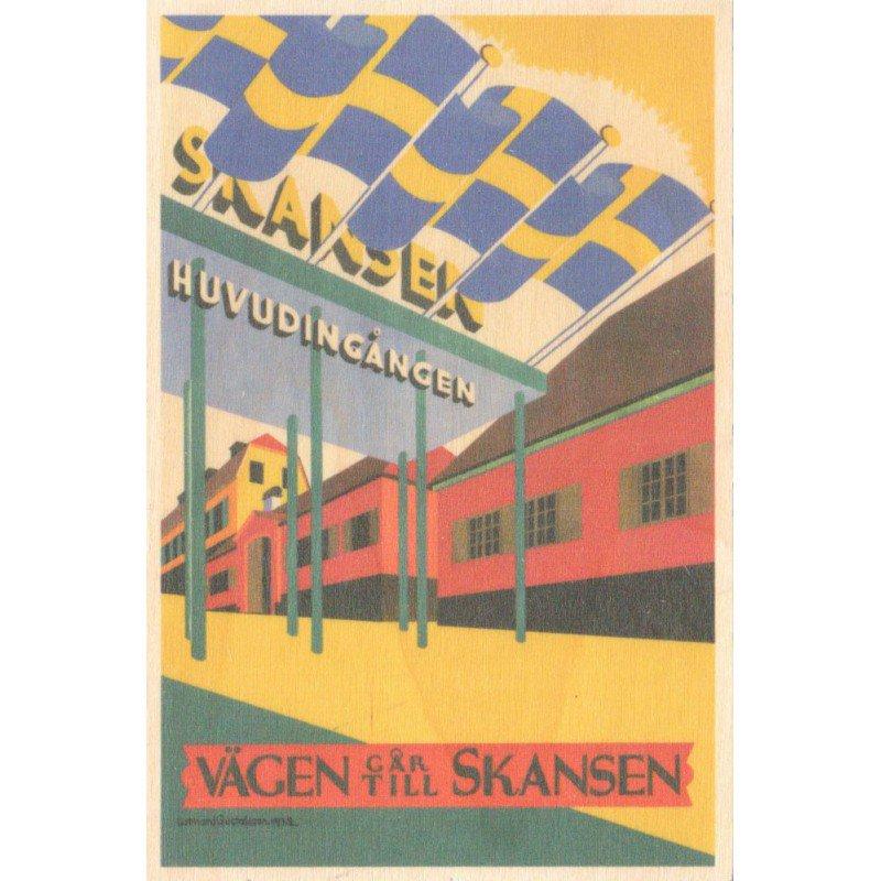 【木のはがき】エントランスオブスカンセン / COME TO SWEDEN(カムトゥスウェーデン)木製ポストカード【クリックポスト配送…