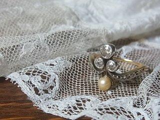 真珠&ダイヤのクローバーリング