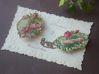 アンティークの絵葉書『薔薇と手』