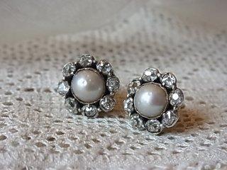 真珠とダイヤのクラスターピアス