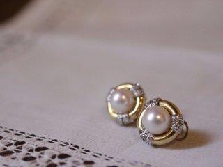 真珠&ダイヤと2色18Kのピアス