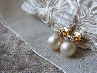 真珠&ブリリアントダイヤのピアス