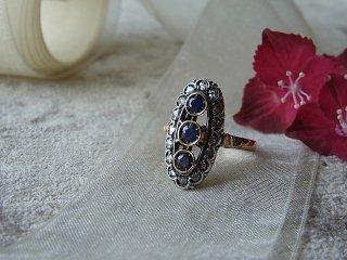 スリーサファイア&ダイヤのリング