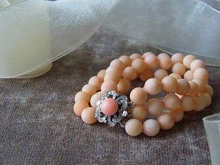 珊瑚&ダイヤモンドのブレスレット