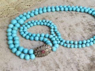 天然空色トルコ石の2連ネックレス